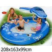 Детский бассейн надувной овальный. Кит с фонтанчиком