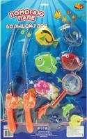 """Дет. игрушечная рыбалка """"Большой Улов"""", в наборе 2 удочки, сачок и 9 рыбок"""