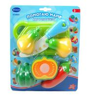 """Детский игрушечный набор овощей для резки на липучках """"Помогаю Маме"""", на блистере, 10 видов в ассорт."""