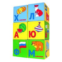 """Детские мягкие кубики """"Азбука в картинках"""" (6 штук)"""
